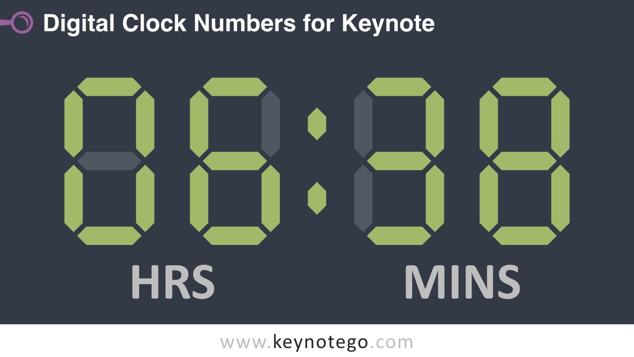Free Digital Clock Numbers Keynote Template - Dark Background