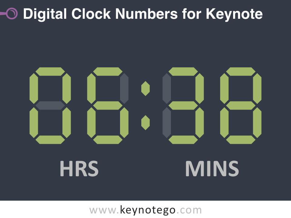 Free Digital Clock Numbers Template for Keynote - Dark Background