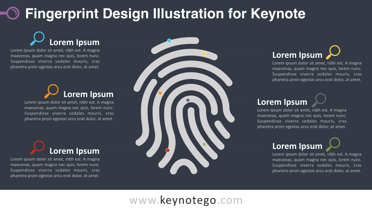 Free Fingerprint Design Illustration Keynote Template - Dark Background