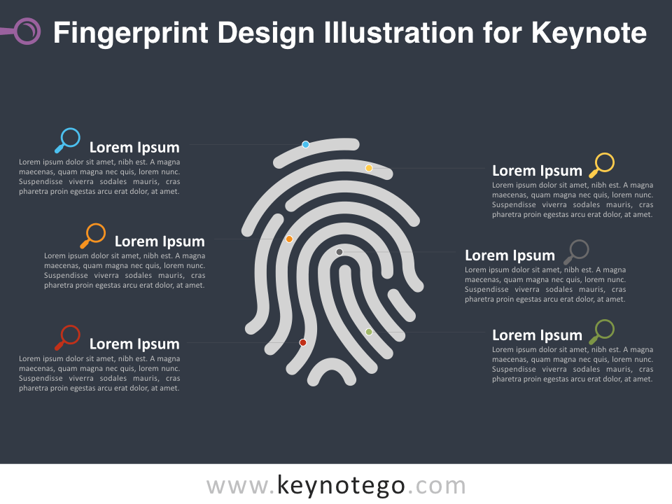 Free Fingerprint Design Illustration Template for Keynote - Dark Background