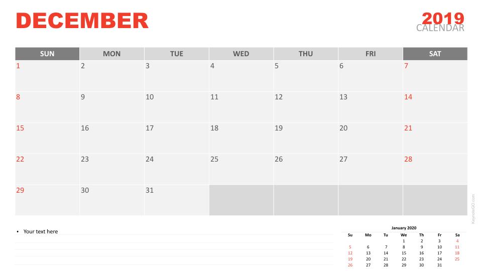 Free Calendar 2019 December For