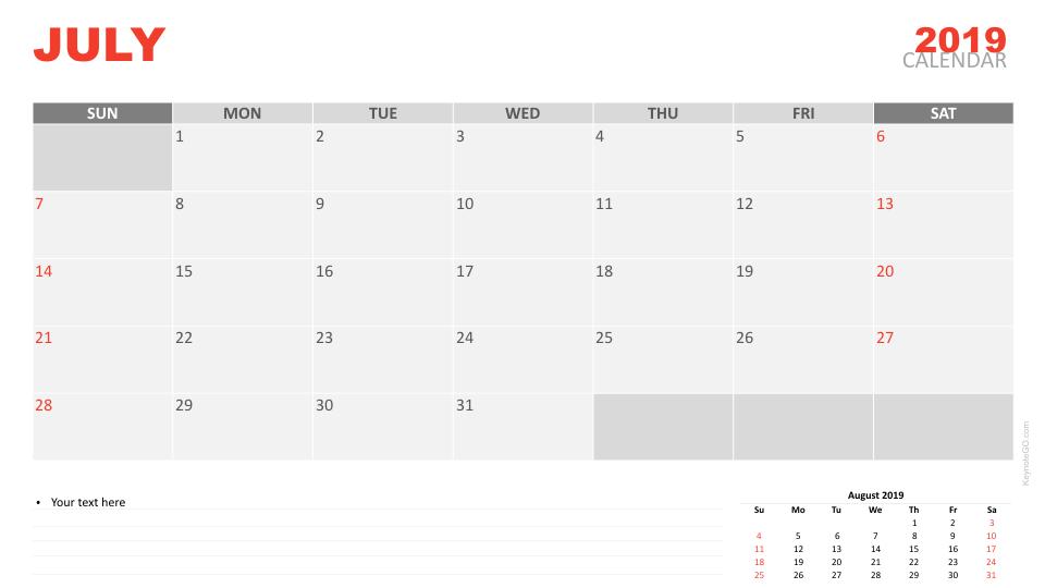 Free Calendar 2019 July For Keynote