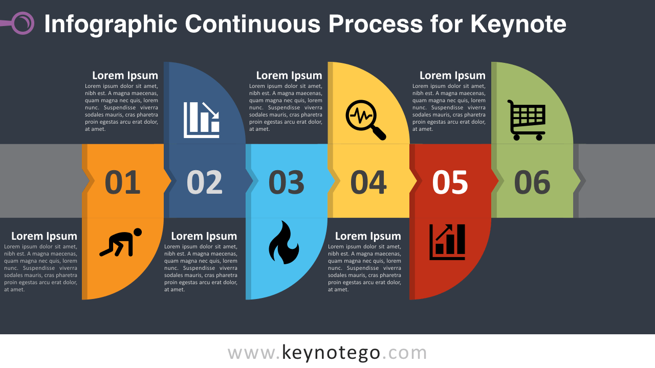 Free Infographic Continuous Process Keynote Template - Dark Background