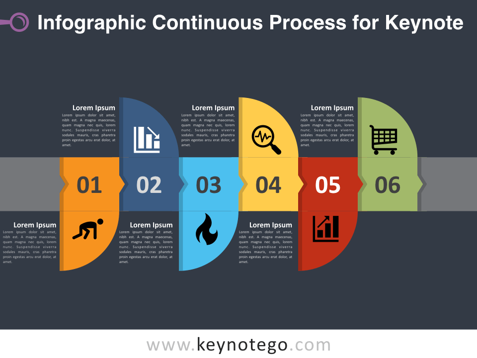Free Infographic Continuous Process Template for Keynote - Dark Background