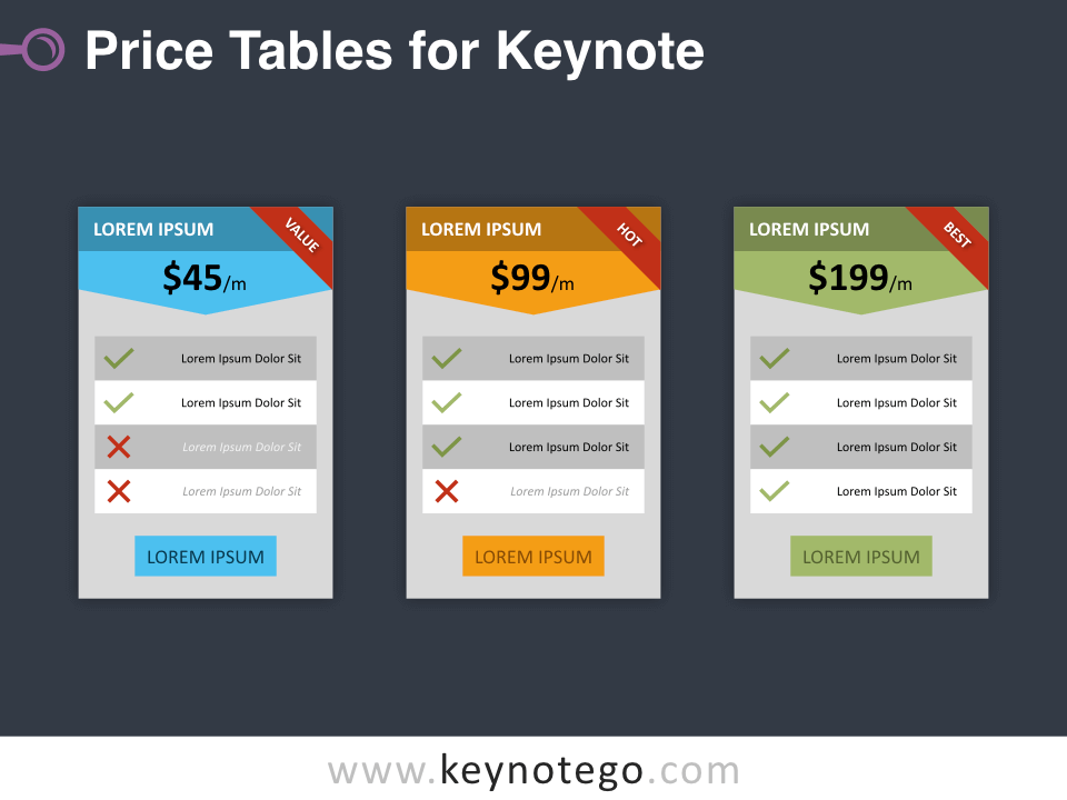 Free Price Tables Template for Keynote