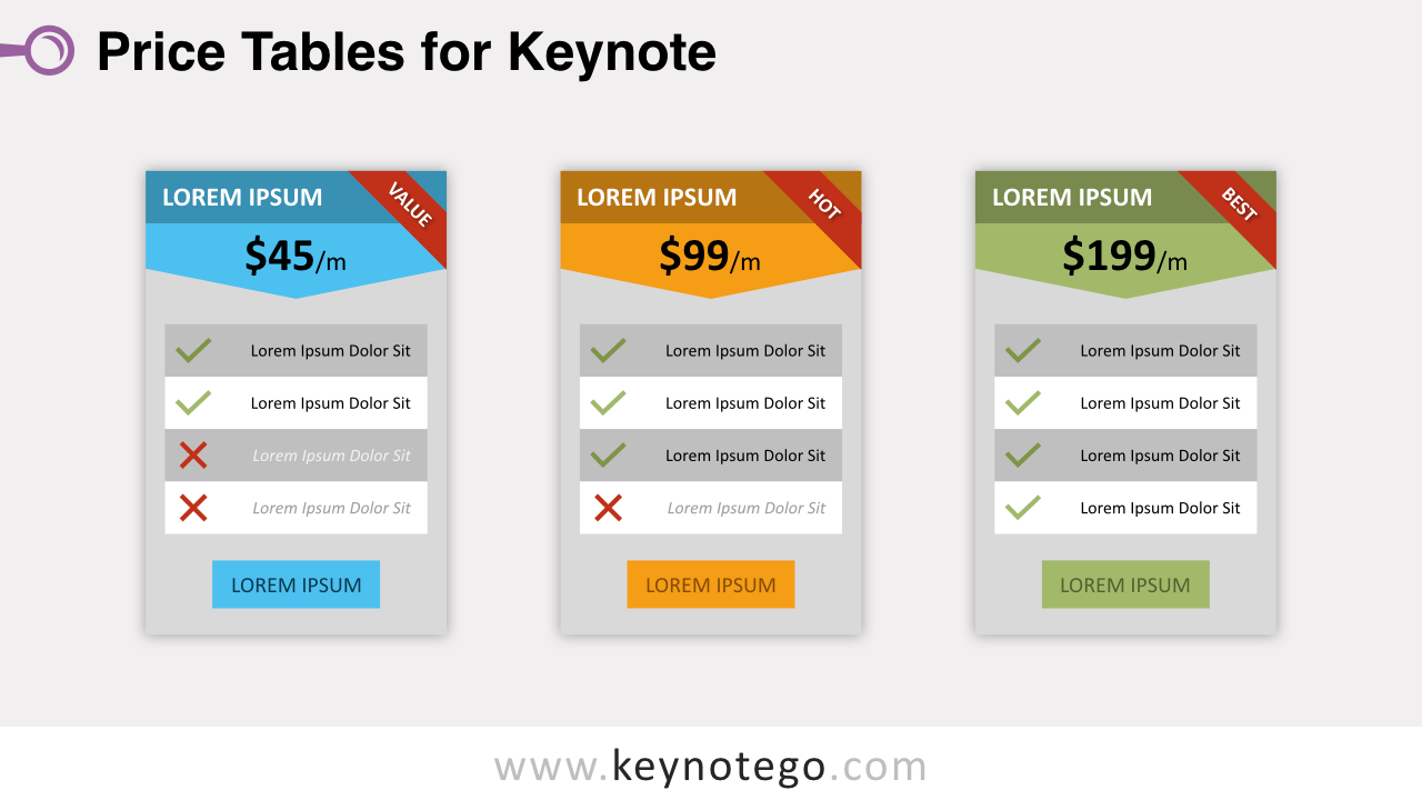 Free Price Tables for Keynote