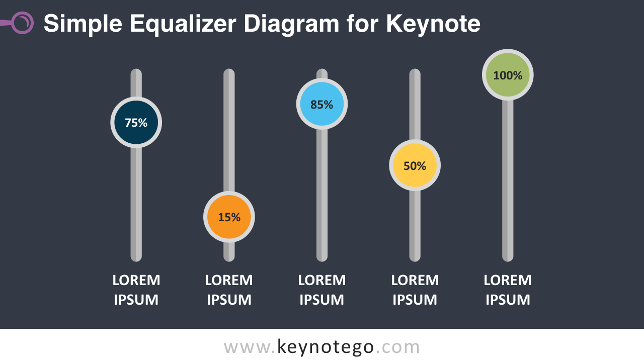 Free Simple Equalizer Diagram Keynote Template - Dark Background