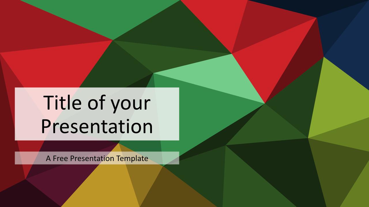 Free Triangle Mosaic Colors Title Slide Keynote Template