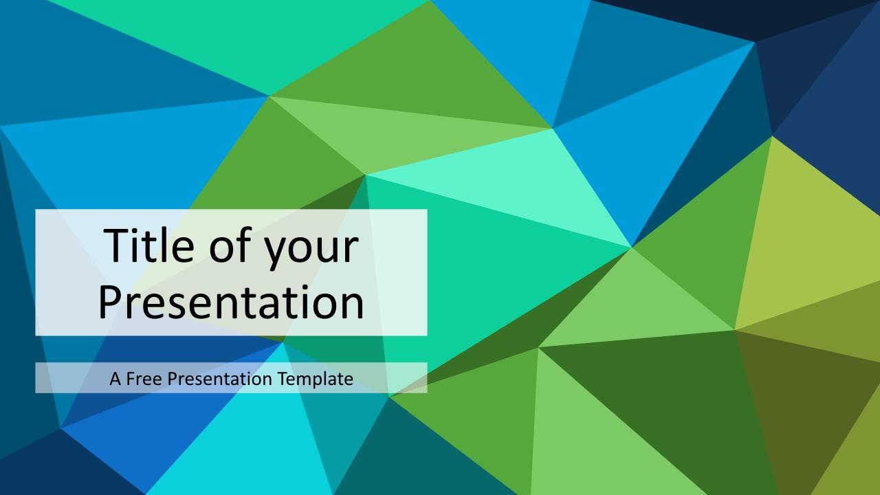 Free Triangle Mosaic Green Title Slide Keynote Template
