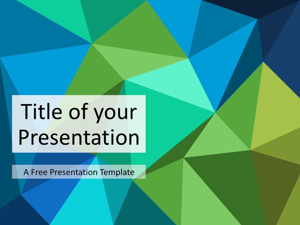 Free Triangle Mosaic Green Title Slide Keynote
