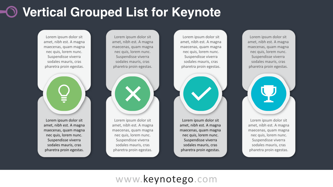 Free Vertical Grouped List Keynote Template Dark Background