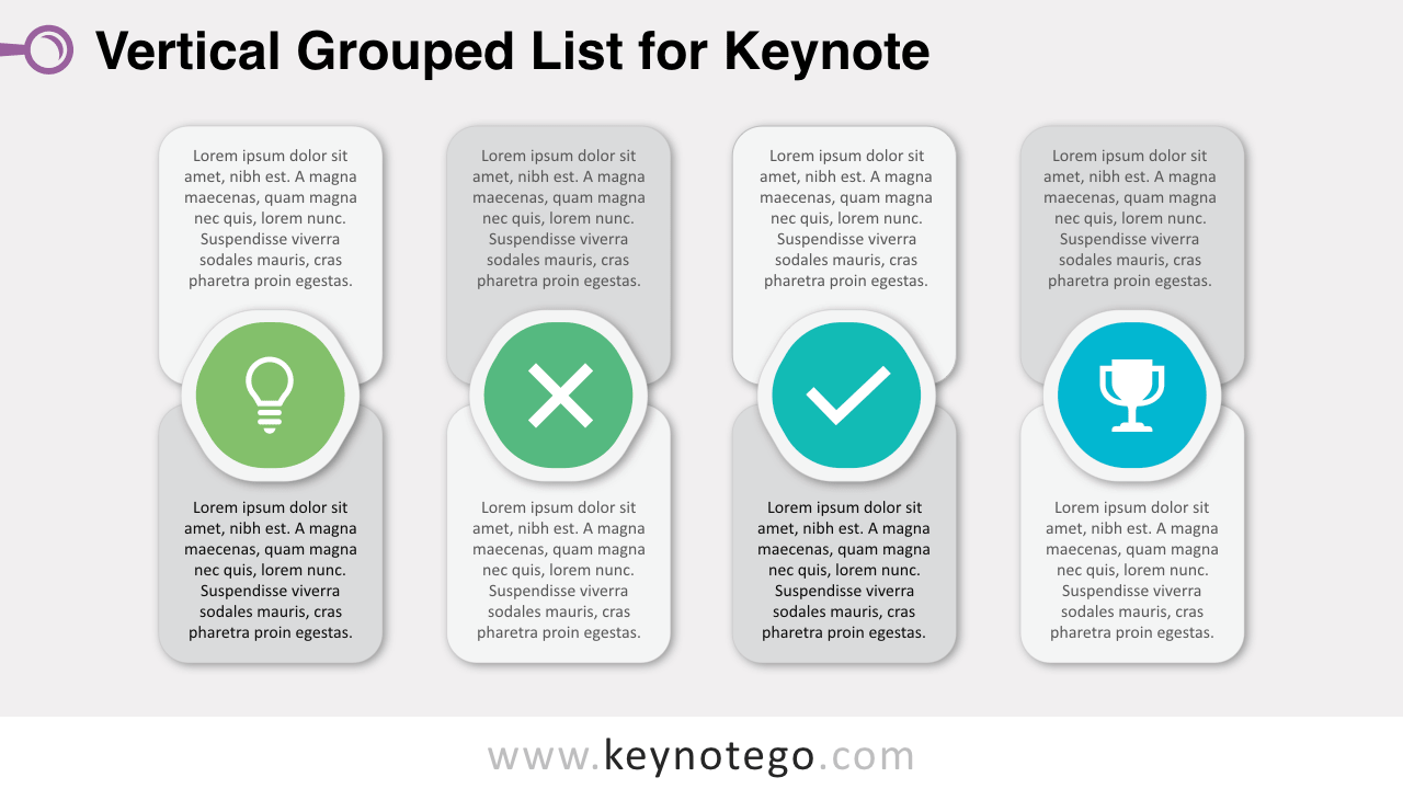 Free Vertical Grouped List Keynote Template